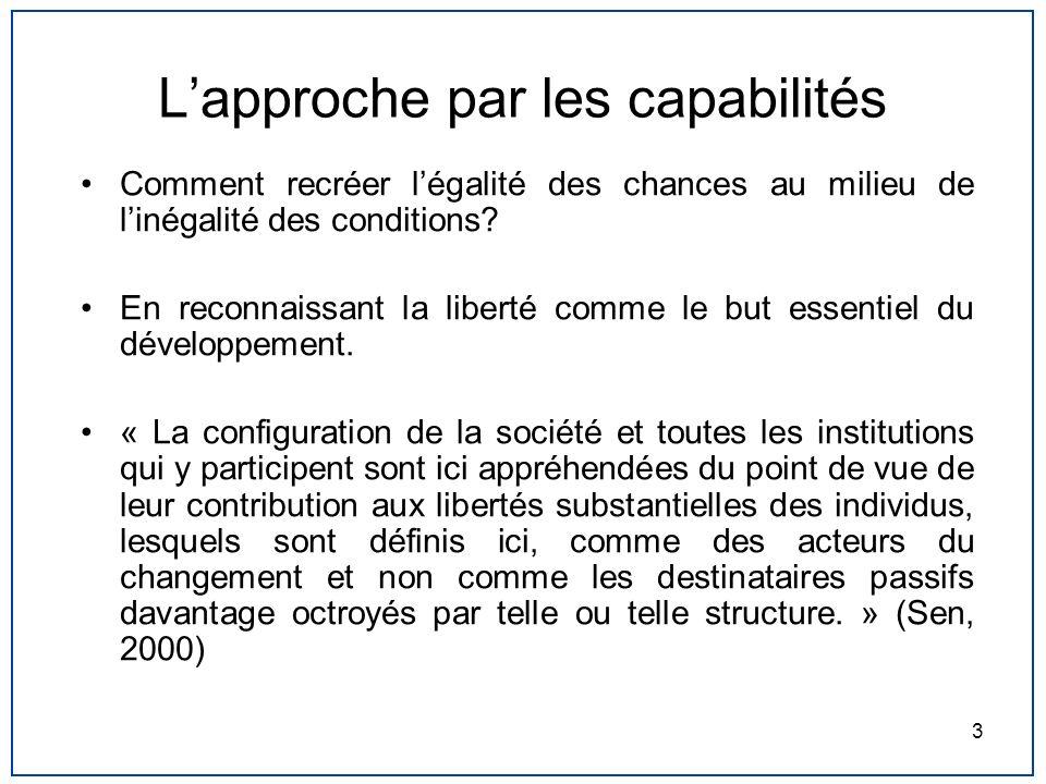 3 Lapproche par les capabilités Comment recréer légalité des chances au milieu de linégalité des conditions? En reconnaissant la liberté comme le but