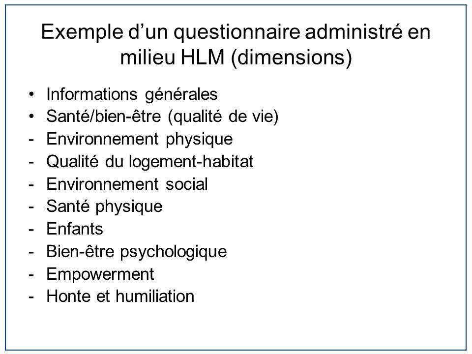 Exemple dun questionnaire administré en milieu HLM (dimensions) Informations générales Santé/bien-être (qualité de vie) -Environnement physique -Quali