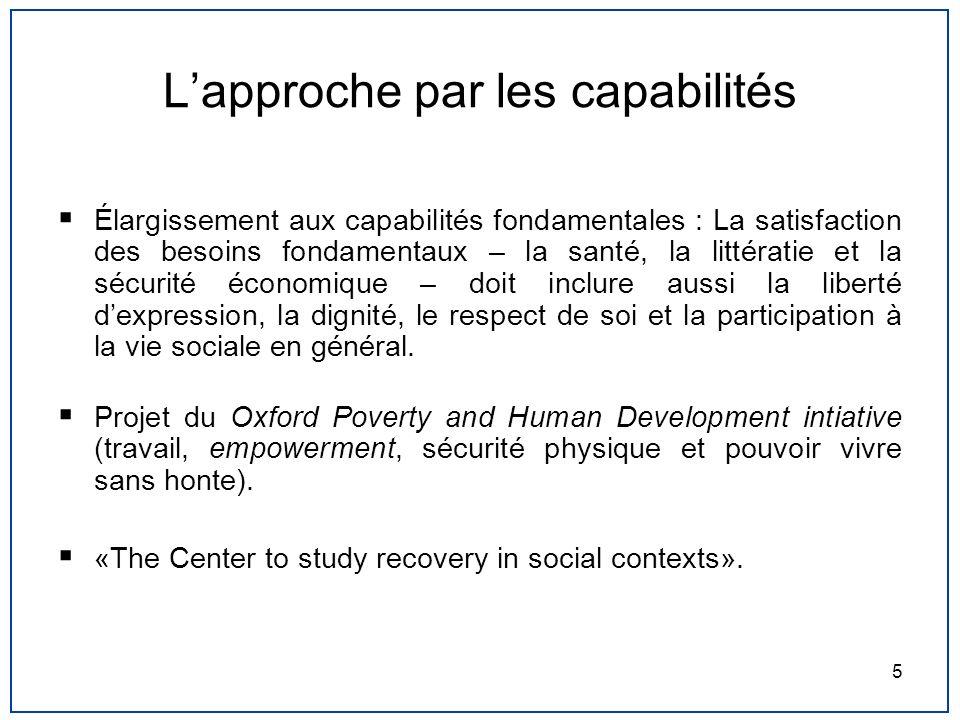 5 Lapproche par les capabilités Élargissement aux capabilités fondamentales : La satisfaction des besoins fondamentaux – la santé, la littératie et la