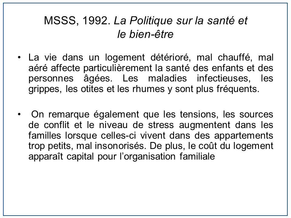 MSSS, 1992. La Politique sur la santé et le bien-être La vie dans un logement détérioré, mal chauffé, mal aéré affecte particulièrement la santé des e