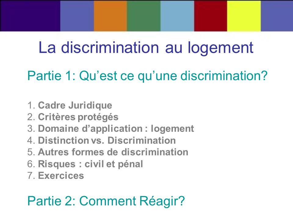 La discrimination au logement Partie 1: Quest ce quune discrimination? 1. Cadre Juridique 2. Critères protégés 3. Domaine dapplication : logement 4. D