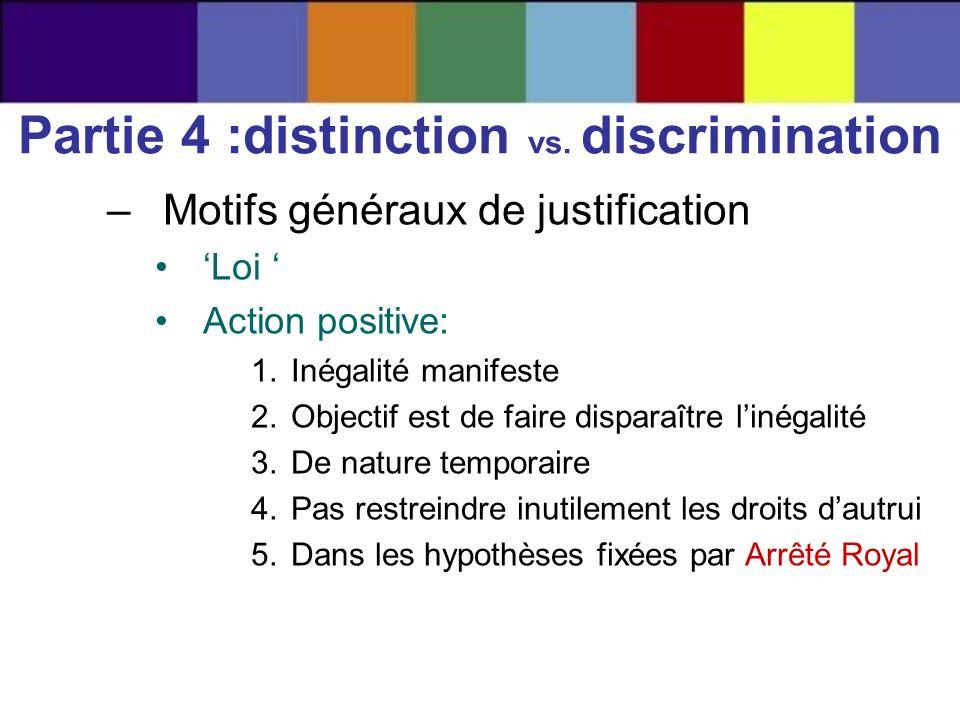 –Motifs généraux de justification Loi Action positive: 1.Inégalité manifeste 2.Objectif est de faire disparaître linégalité 3.De nature temporaire 4.P