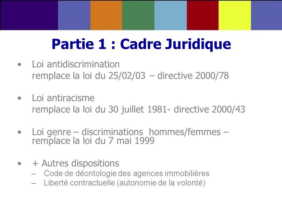 Partie 1 : Cadre Juridique Loi antidiscrimination remplace la loi du 25/02/03 – directive 2000/78 Loi antiracisme remplace la loi du 30 juillet 1981-