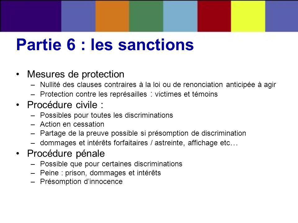 Partie 6 : les sanctions Mesures de protection –Nullité des clauses contraires à la loi ou de renonciation anticipée à agir –Protection contre les rep