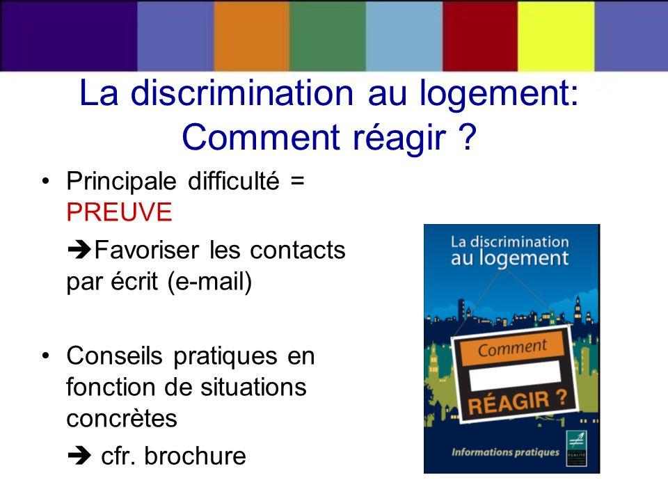 La discrimination au logement: Comment réagir ? Principale difficulté = PREUVE Favoriser les contacts par écrit (e-mail) Conseils pratiques en fonctio