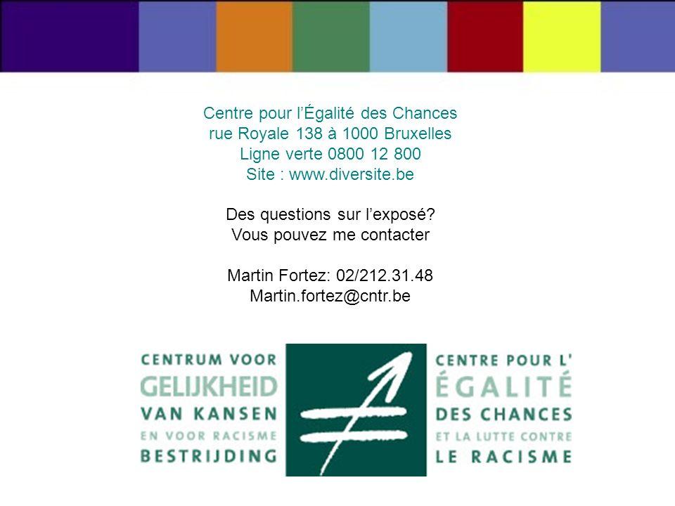 Centre pour lÉgalité des Chances rue Royale 138 à 1000 Bruxelles Ligne verte 0800 12 800 Site : www.diversite.be Des questions sur lexposé? Vous pouve
