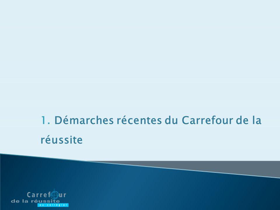 1. Démarches récentes du Carrefour de la réussite