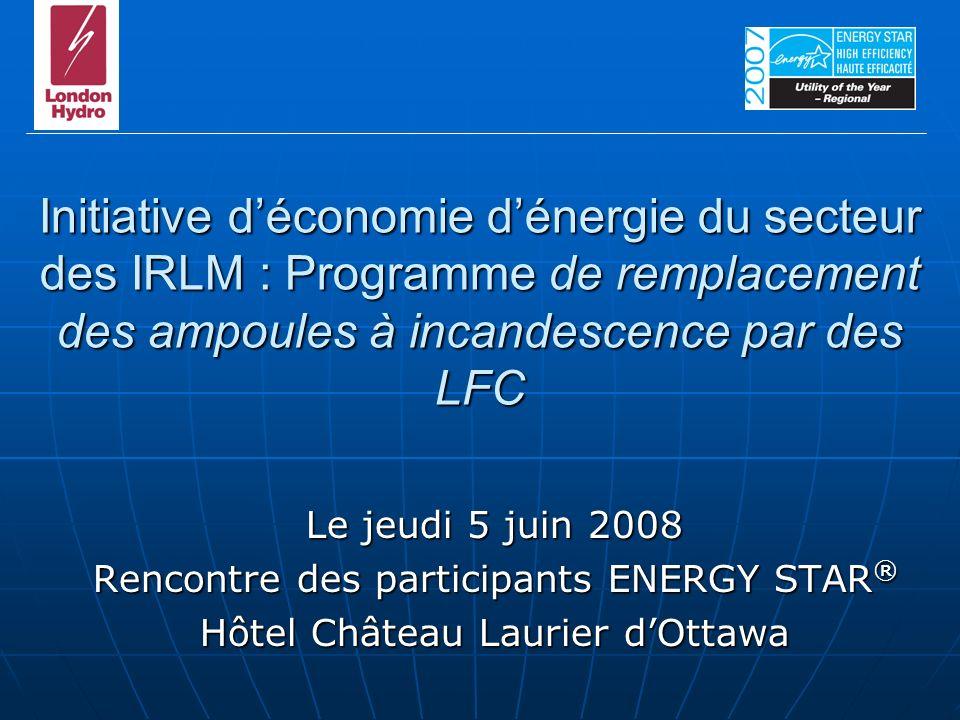 Initiative déconomie dénergie du secteur des IRLM : Programme de remplacement des ampoules à incandescence par des LFC Le jeudi 5 juin 2008 Rencontre des participants ENERGY STAR ® Hôtel Château Laurier dOttawa