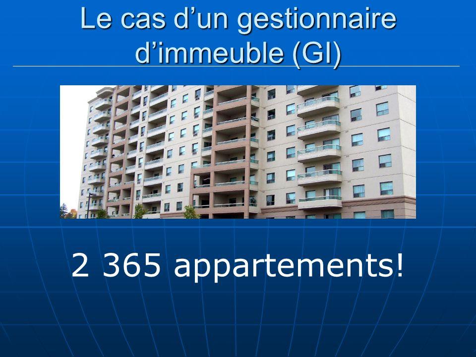 Le cas dun gestionnaire dimmeuble (GI) 2 365 appartements!