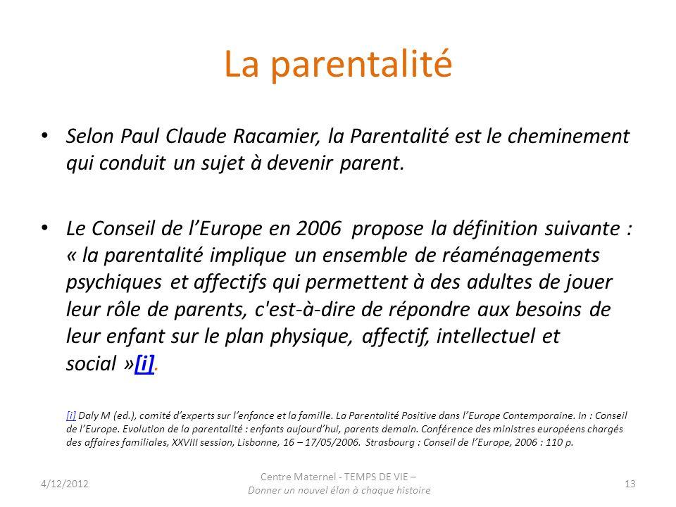 La parentalité Selon Paul Claude Racamier, la Parentalité est le cheminement qui conduit un sujet à devenir parent.