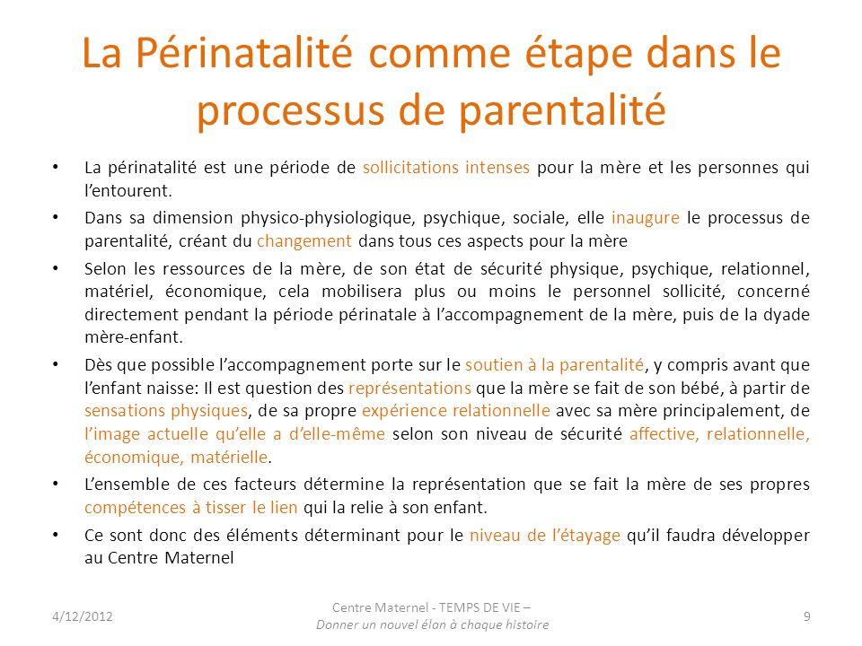 La Périnatalité comme étape dans le processus de parentalité La périnatalité est une période de sollicitations intenses pour la mère et les personnes qui lentourent.