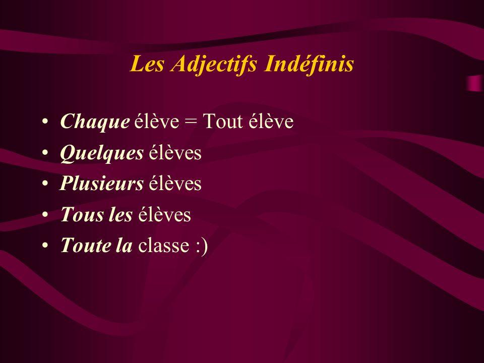 Les Adjectifs Indéfinis Chaque élève = Tout élève Quelques élèves Plusieurs élèves Tous les élèves Toute la classe :)