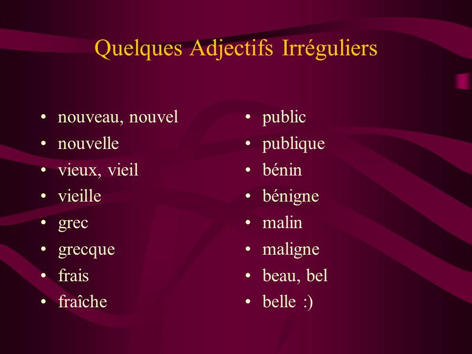 Quelques Adjectifs Irréguliers nouveau, nouvel nouvelle vieux, vieil vieille grec grecque frais fraîche public publique bénin bénigne malin maligne be