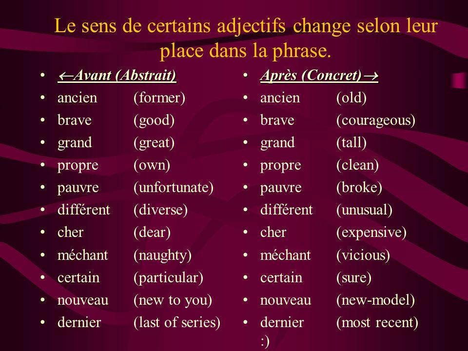 Le sens de certains adjectifs change selon leur place dans la phrase. Avant (Abstrait) Avant (Abstrait) ancien(former) brave(good) grand(great) propre