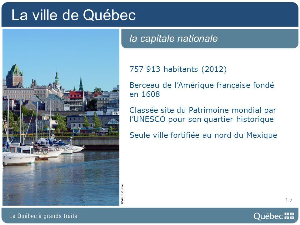 La ville de Montréal 3 824 221 habitants (2012) Haut lieu de diversité ethnique et culturelle avec plus de 120 communautés établies Plusieurs organisations internationales y ont pignon sur rue Désignée Ville de design par lUNESCO Un des plus importants carrefours commerciaux du continent la métropole 1.6