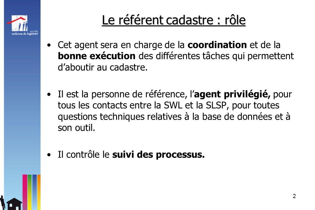 Le référent cadastre : rôle Cet agent sera en charge de la coordination et de la bonne exécution des différentes tâches qui permettent daboutir au cad