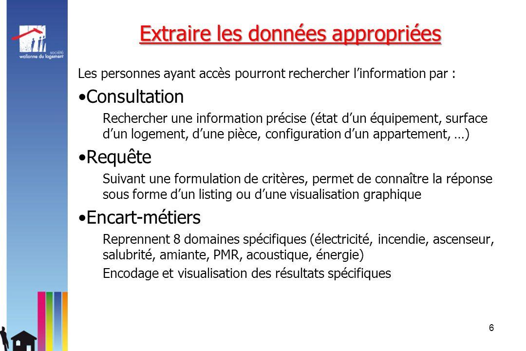 Extraire les données appropriées Les personnes ayant accès pourront rechercher linformation par : Consultation Rechercher une information précise (éta