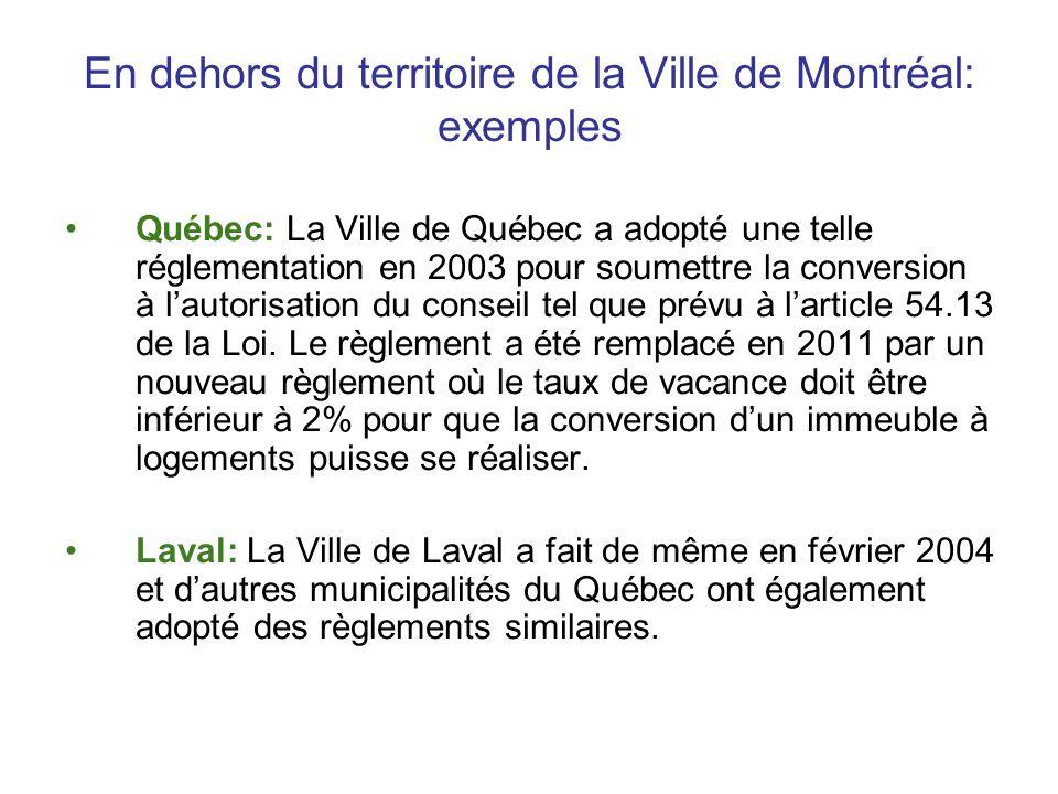 En dehors du territoire de la Ville de Montréal: exemples Québec: La Ville de Québec a adopté une telle réglementation en 2003 pour soumettre la conve