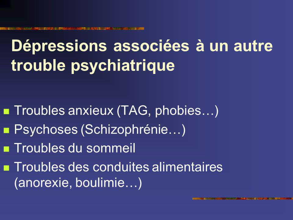 Dépressions associées à un autre trouble psychiatrique Troubles anxieux (TAG, phobies…) Psychoses (Schizophrénie…) Troubles du sommeil Troubles des co