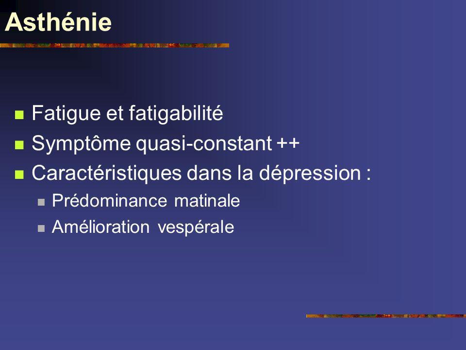 Asthénie Fatigue et fatigabilité Symptôme quasi-constant ++ Caractéristiques dans la dépression : Prédominance matinale Amélioration vespérale