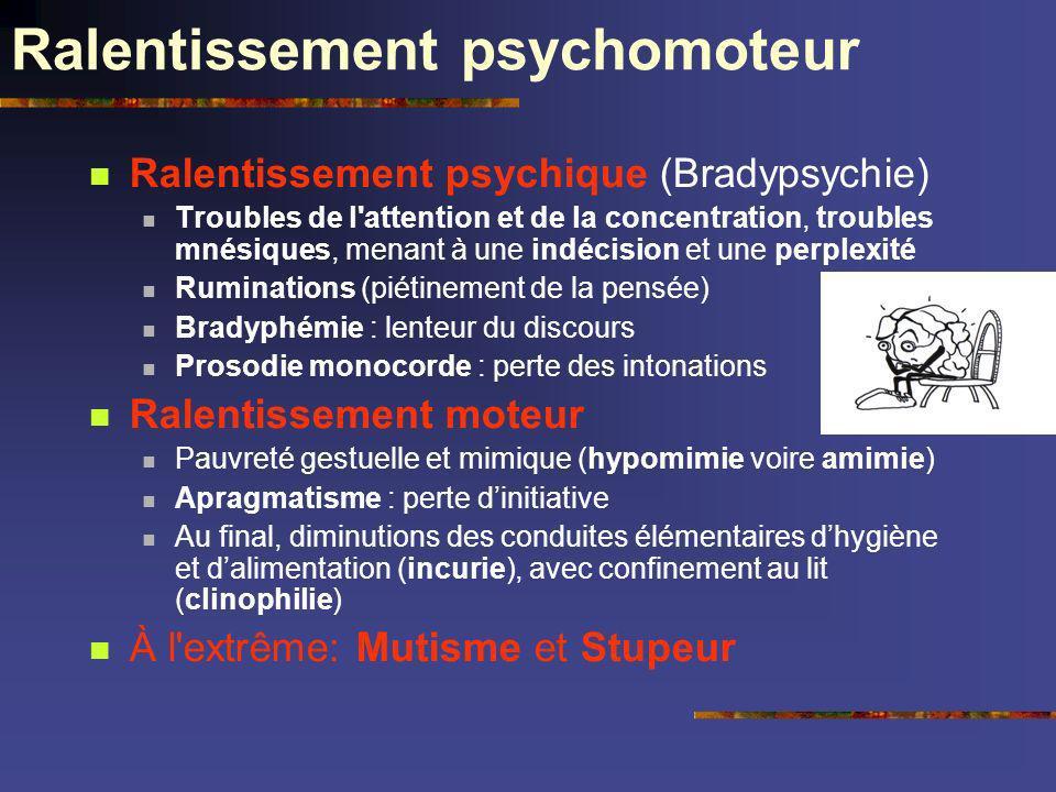 Ralentissement psychomoteur Ralentissement psychique (Bradypsychie) Troubles de l'attention et de la concentration, troubles mnésiques, menant à une i