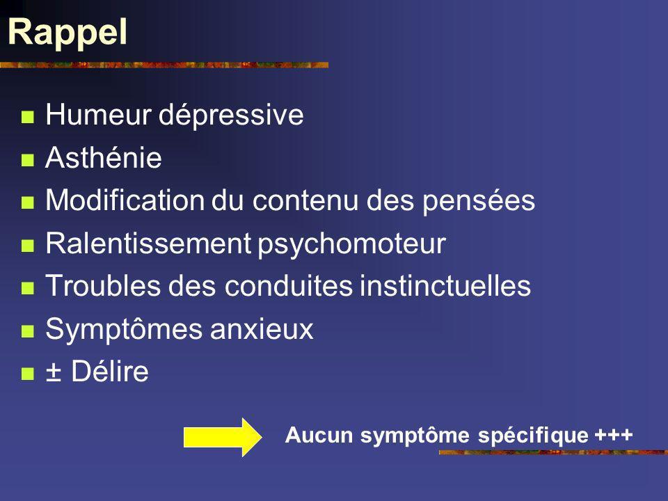 Rappel Humeur dépressive Asthénie Modification du contenu des pensées Ralentissement psychomoteur Troubles des conduites instinctuelles Symptômes anxi