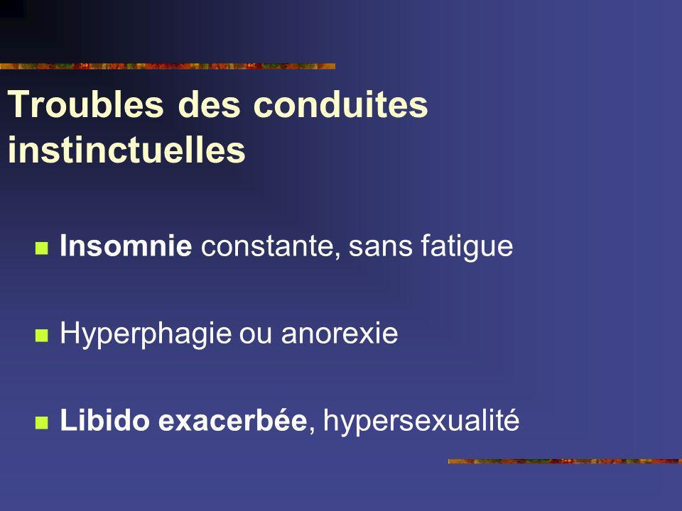 Troubles des conduites instinctuelles Insomnie constante, sans fatigue Hyperphagie ou anorexie Libido exacerbée, hypersexualité