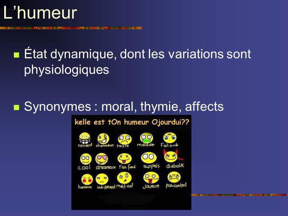 Lhumeur État dynamique, dont les variations sont physiologiques Synonymes : moral, thymie, affects