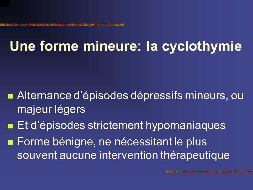 Une forme mineure: la cyclothymie Alternance dépisodes dépressifs mineurs, ou majeur légers Et dépisodes strictement hypomaniaques Forme bénigne, ne n