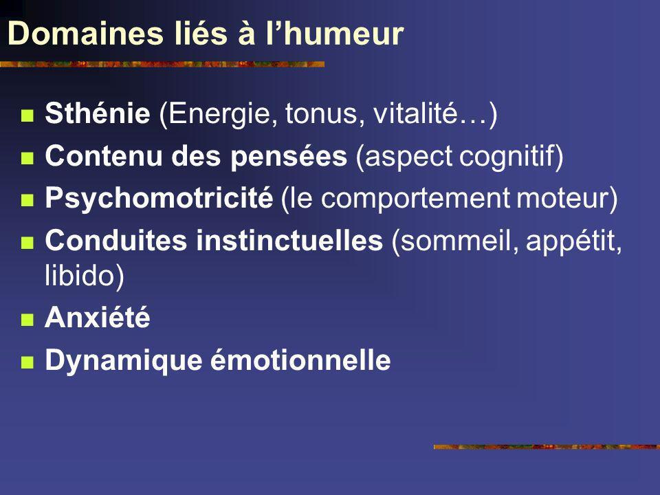 Domaines liés à lhumeur Sthénie (Energie, tonus, vitalité…) Contenu des pensées (aspect cognitif) Psychomotricité (le comportement moteur) Conduites i
