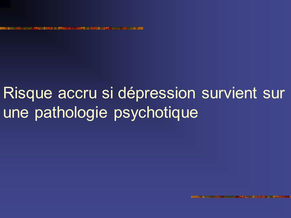 Risque accru si dépression survient sur une pathologie psychotique