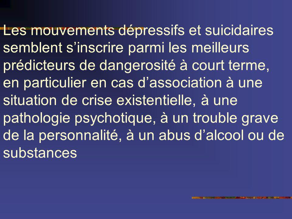 Les mouvements dépressifs et suicidaires semblent sinscrire parmi les meilleurs prédicteurs de dangerosité à court terme, en particulier en cas dassoc