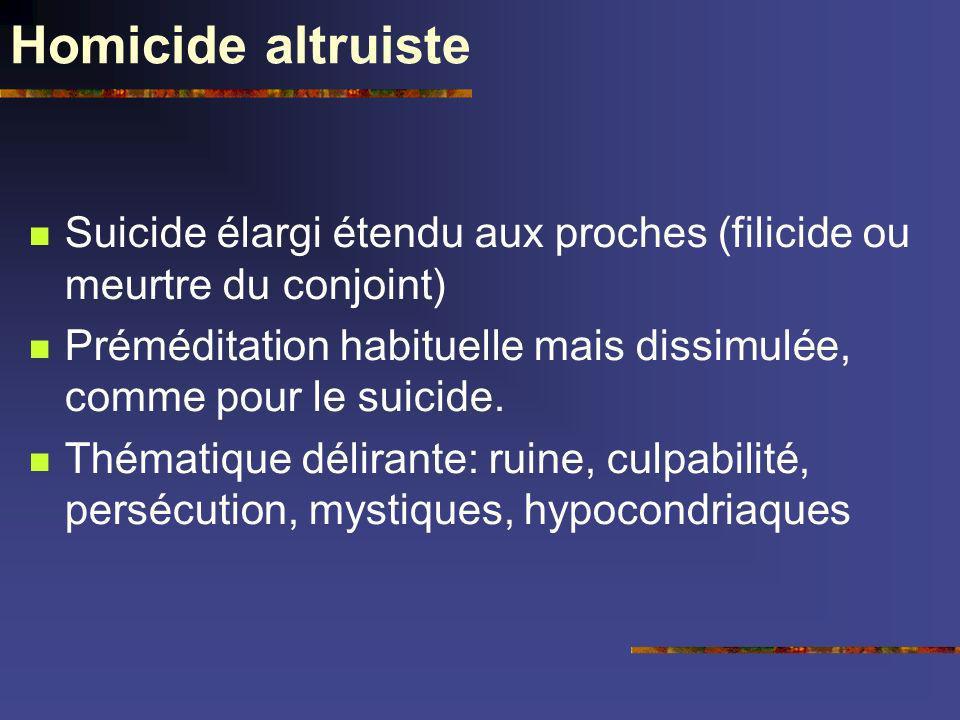 Homicide altruiste Suicide élargi étendu aux proches (filicide ou meurtre du conjoint) Préméditation habituelle mais dissimulée, comme pour le suicide