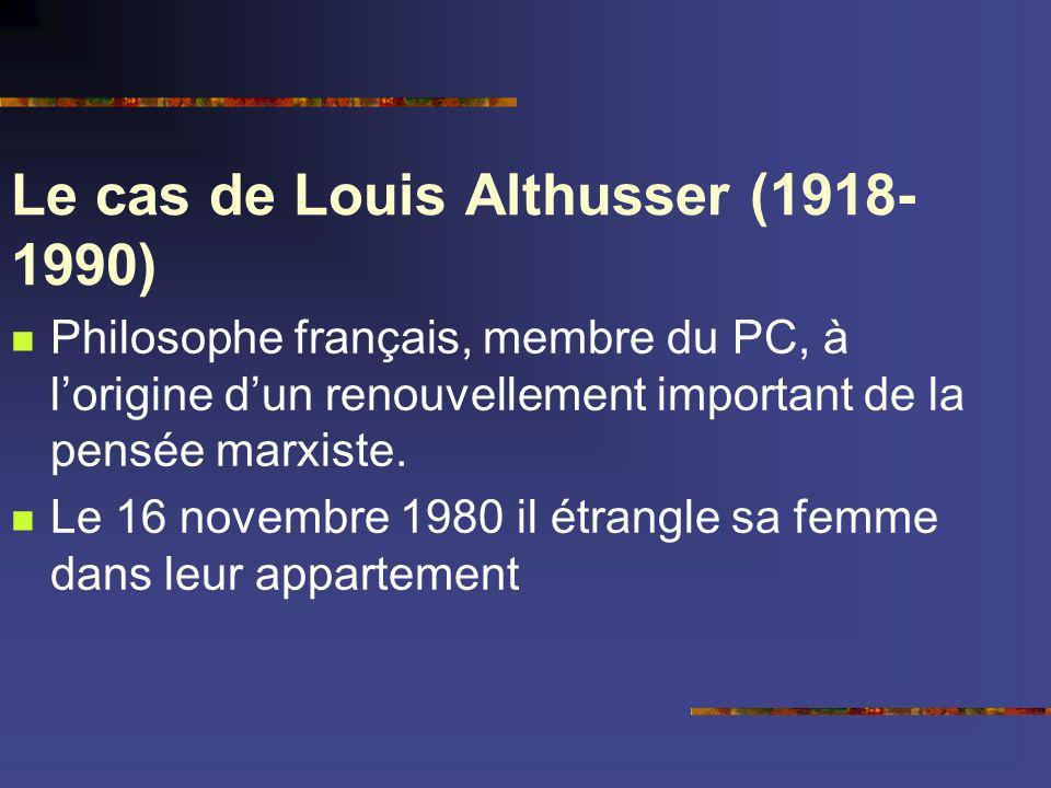 Le cas de Louis Althusser (1918- 1990) Philosophe français, membre du PC, à lorigine dun renouvellement important de la pensée marxiste. Le 16 novembr