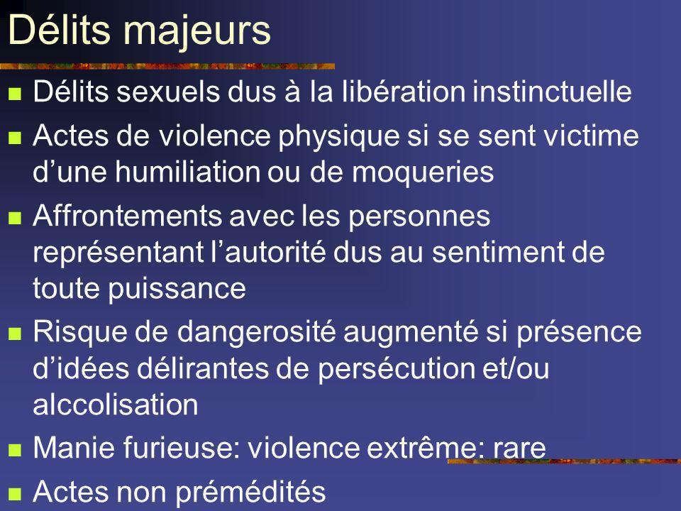 Délits majeurs Délits sexuels dus à la libération instinctuelle Actes de violence physique si se sent victime dune humiliation ou de moqueries Affront