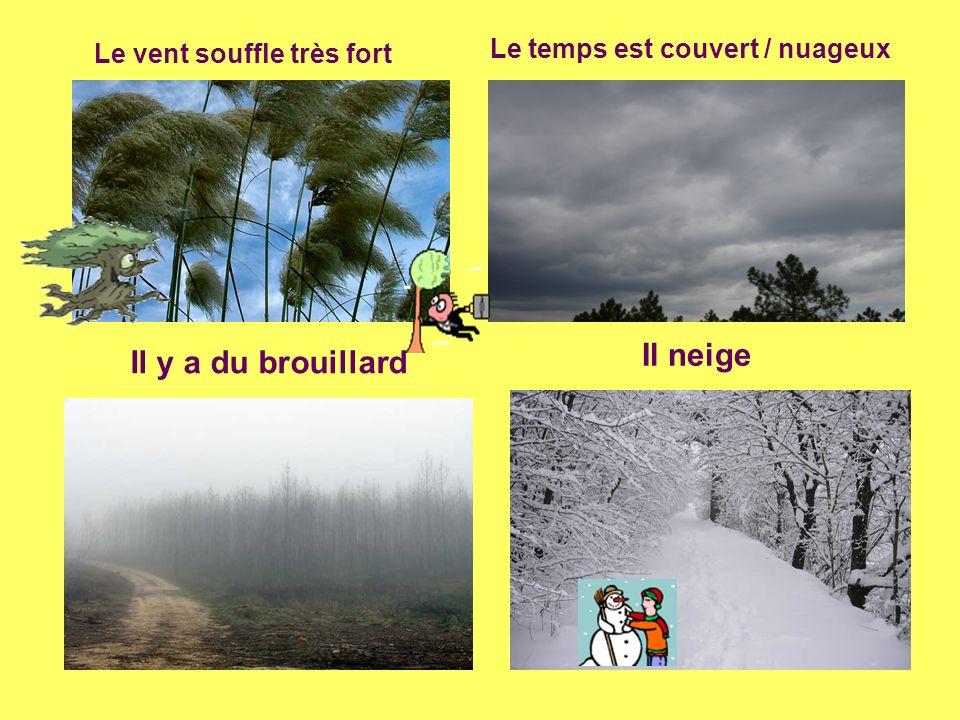 Le vent souffle très fort Le temps est couvert / nuageux Il y a du brouillard Il neige