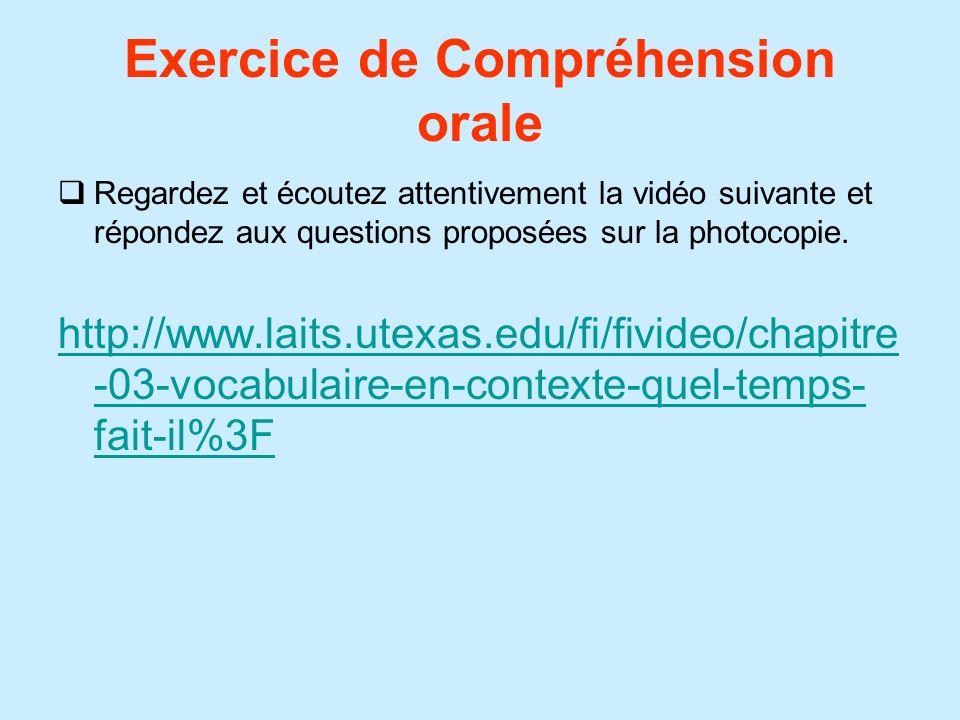Exercice de Compréhension orale Regardez et écoutez attentivement la vidéo suivante et répondez aux questions proposées sur la photocopie. http://www.