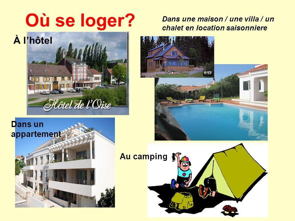 Où se loger? Dans une maison / une villa / un chalet en location saisonniere Dans un appartement Au camping À lhôtel