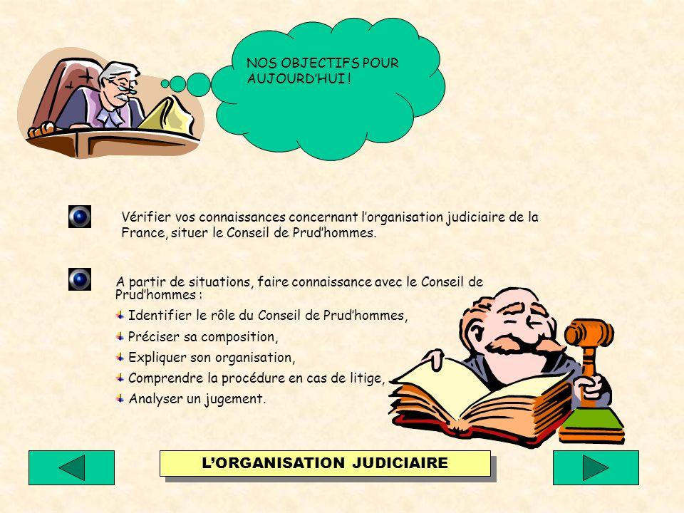 Vérifier vos connaissances concernant lorganisation judiciaire de la France, situer le Conseil de Prudhommes.