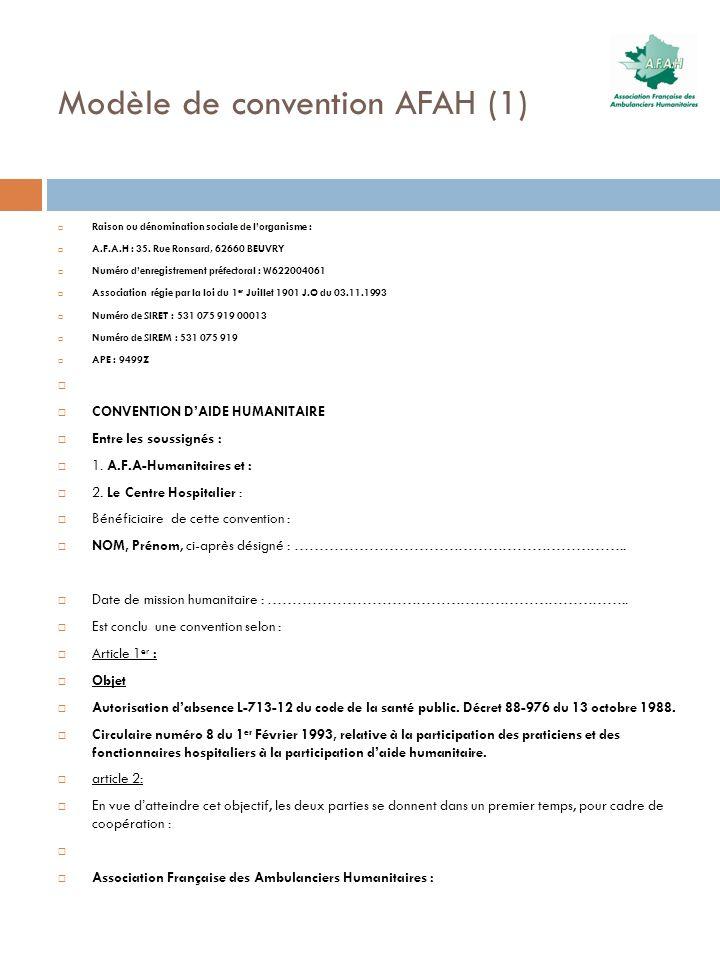 Modèle de convention AFAH (1) Raison ou dénomination sociale de lorganisme : A.F.A.H : 35. Rue Ronsard, 62660 BEUVRY Numéro denregistrement préfectora