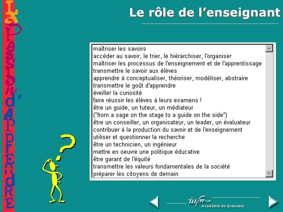 Le rôle de lenseignant Les compétences nécessaires à lenseignant :