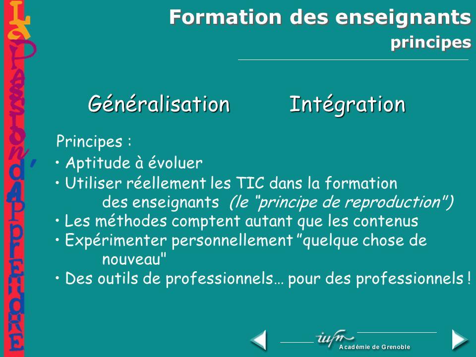 Formation des enseignants principes GénéralisationIntégration