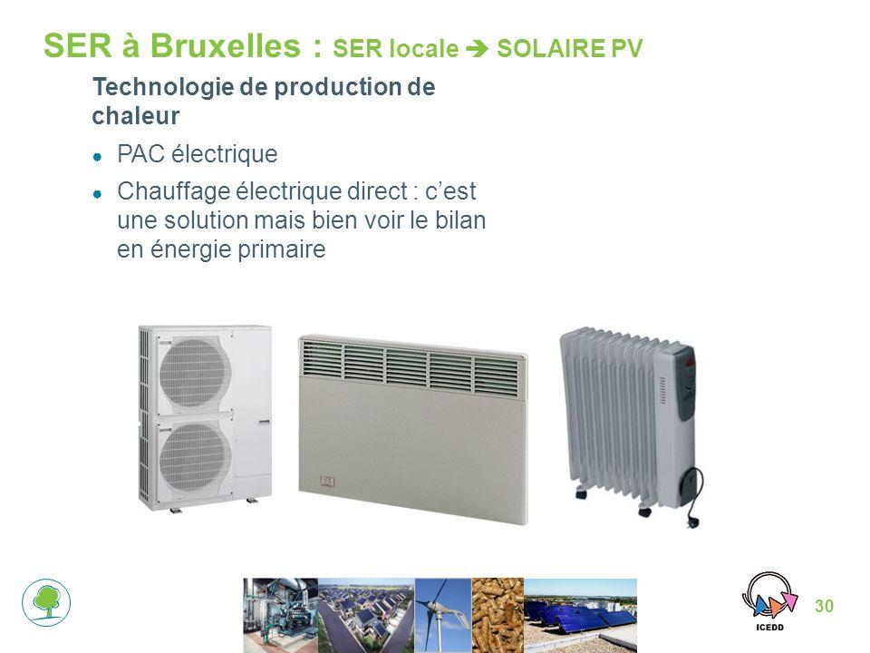 30 SER à Bruxelles : SER locale SOLAIRE PV Technologie de production de chaleur PAC électrique Chauffage électrique direct : cest une solution mais bien voir le bilan en énergie primaire