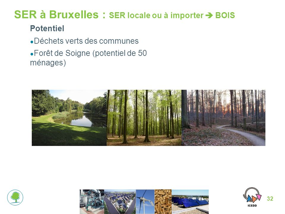 32 SER à Bruxelles : SER locale ou à importer BOIS Potentiel Déchets verts des communes Forêt de Soigne (potentiel de 50 ménages)