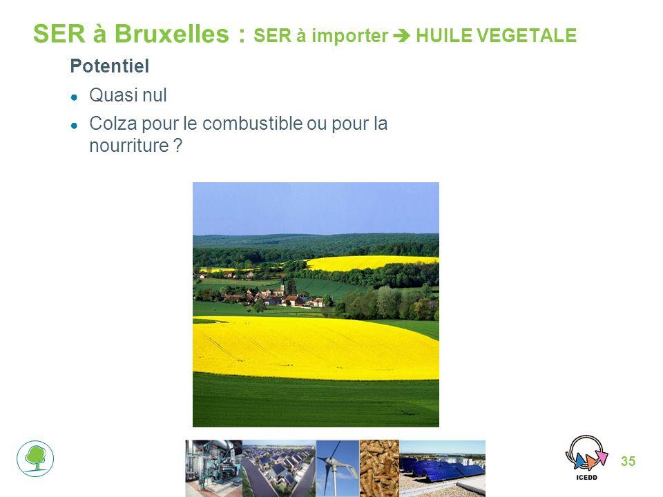35 SER à Bruxelles : SER à importer HUILE VEGETALE Potentiel Quasi nul Colza pour le combustible ou pour la nourriture ?