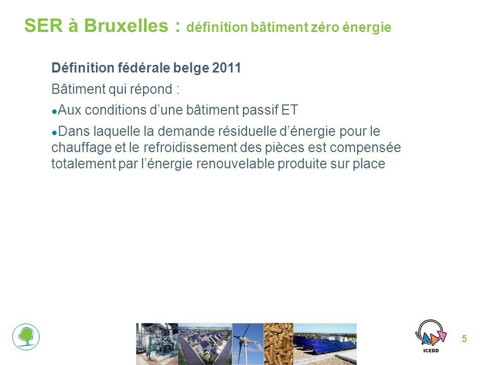 5 SER à Bruxelles : définition bâtiment zéro énergie Définition fédérale belge 2011 Bâtiment qui répond : Aux conditions dune bâtiment passif ET Dans laquelle la demande résiduelle dénergie pour le chauffage et le refroidissement des pièces est compensée totalement par lénergie renouvelable produite sur place