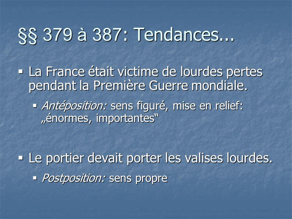 §§ 379 à 387 : Tendances...