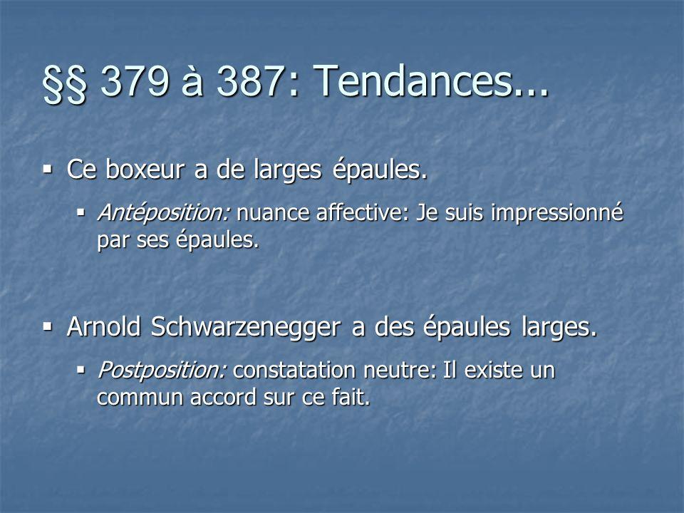 §§ 379 à 387 : Tendances... Ce boxeur a de larges épaules.