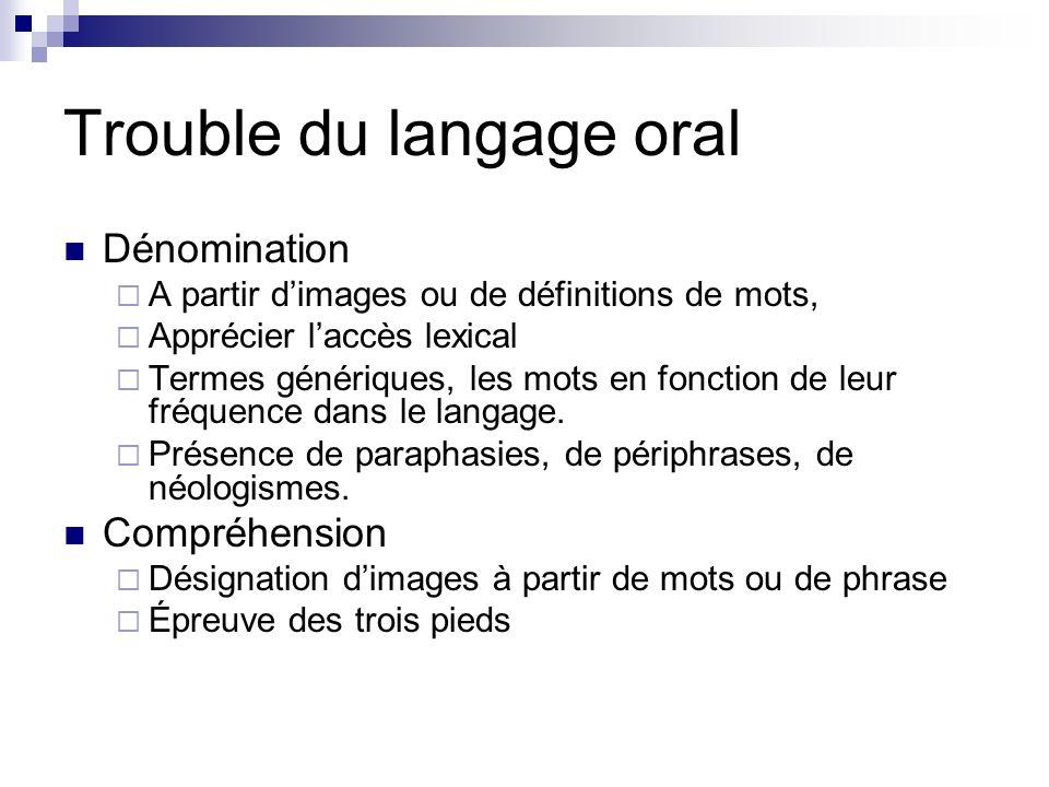 Trouble du langage oral Dénomination A partir dimages ou de définitions de mots, Apprécier laccès lexical Termes génériques, les mots en fonction de leur fréquence dans le langage.