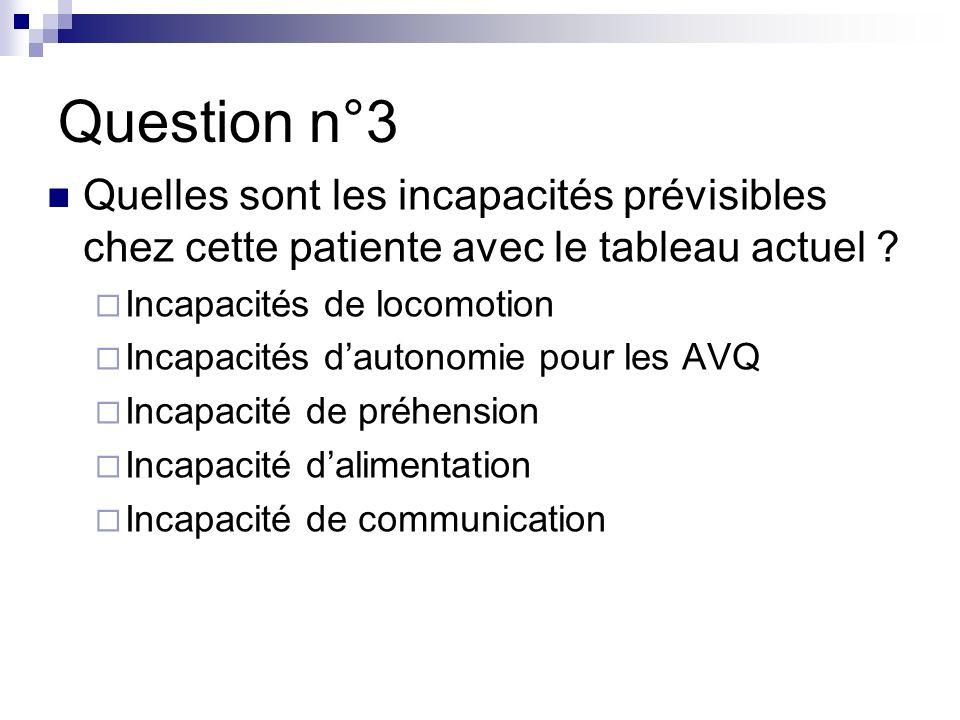 Question n°3 Quelles sont les incapacités prévisibles chez cette patiente avec le tableau actuel .